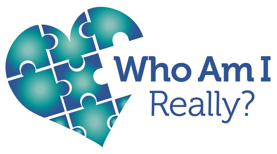 "A heart made of blue and teal puzzle pieces with one piece missing to allow for the title ""Who Am I Really?"" to intersect with the heart."